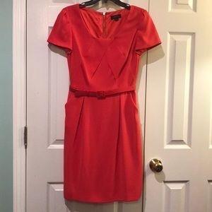 Orange Tahari midi dress with pockets!